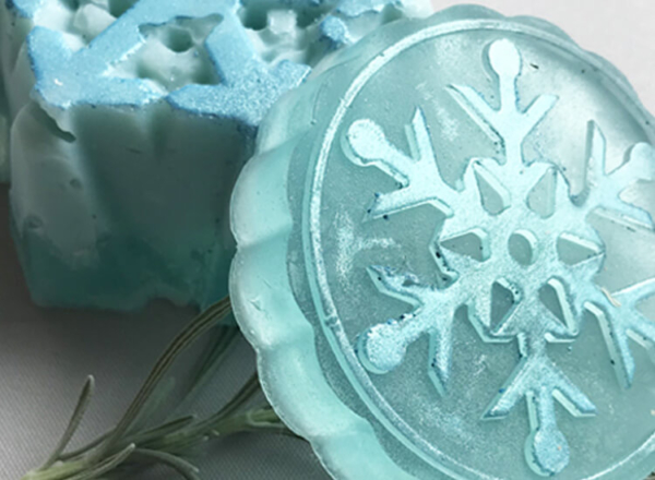 Winter Bergamot Soap - Snowflakes - Zoom
